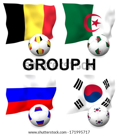 Three dimensional render of Group H of the worlds greatest soccer competition to be held in 2014 - stock photo