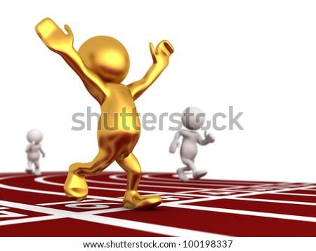 Three dimensional render of Mr Goldman winning the race. - stock photo