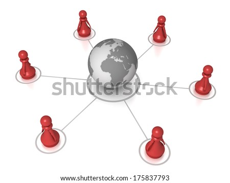 Three dimensional render of red pawns connected to the world globe. Concept for global. - stock photo