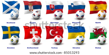 Three dimensional render of ten of Europe's best Football Nations. 5 of 5 in this series. - stock photo