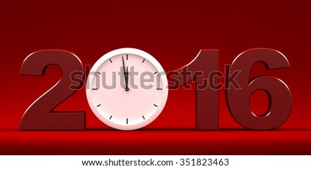 Three dimensional render of 2016 text and a clock - stock photo