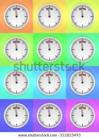 Three dimensional render of 2016 text and a clock in various colors - stock photo