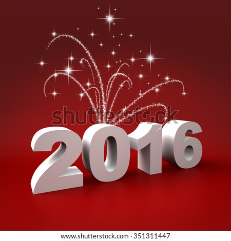 Three dimensional render of 2016 text with fireworks - stock photo