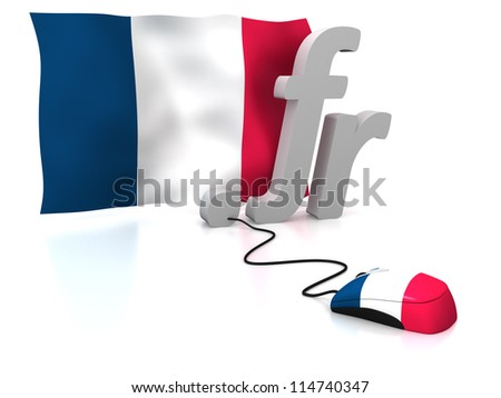 Three dimensional render of the French domain and flag connected to a mouse - stock photo