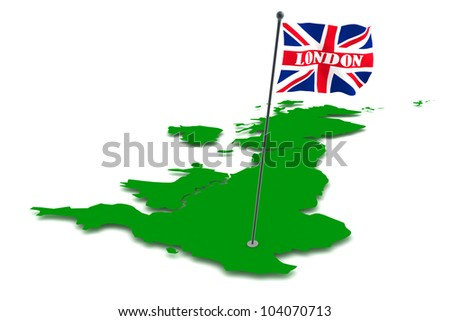 Three dimensional render of the map of the UK and London flag - stock photo