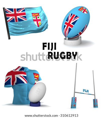 Three dimensional render of the symbols of Fijian rugby - stock photo