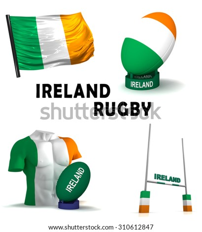 Three dimensional render of the symbols of Irish rugby - stock photo