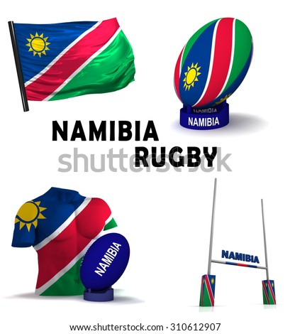 Three dimensional render of the symbols of Namibian rugby - stock photo
