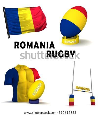 Three dimensional render of the symbols of Romanian rugby - stock photo