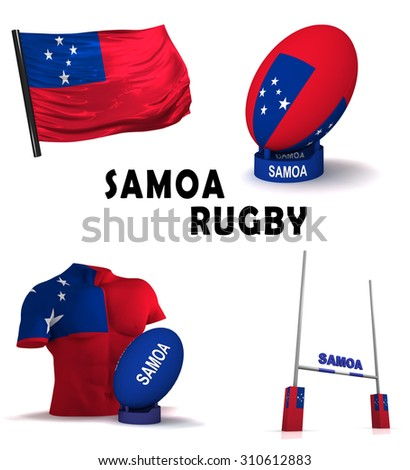 Three dimensional render of the symbols of Samoan rugby - stock photo