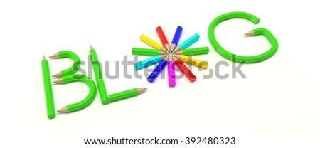 Three dimensional rendering of BLOG word. - stock photo