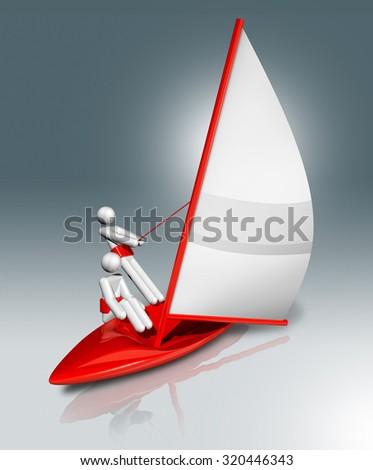 three dimensional sailing symbol - stock photo