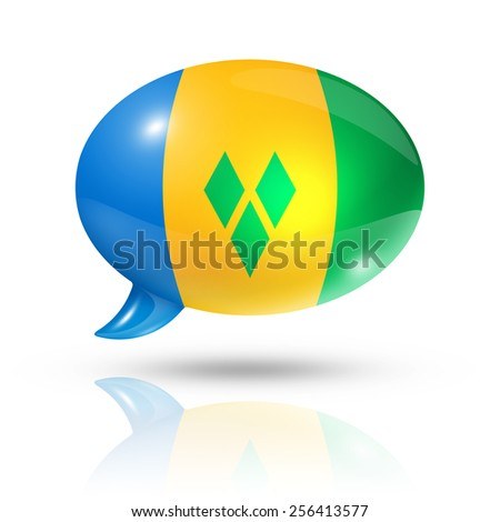 three dimensional Saint Vincent and the Grenadines flag in a speech bubble isolated on white with clipping path - stock photo