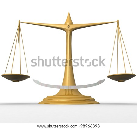 three-dimensional, scales,  on white background - stock photo