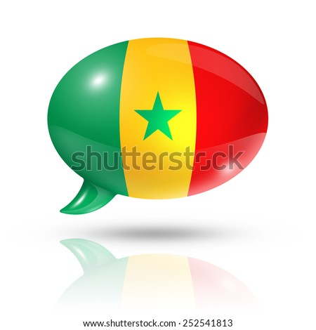 three dimensional Senegal flag in a speech bubble isolated on white with clipping path - stock photo