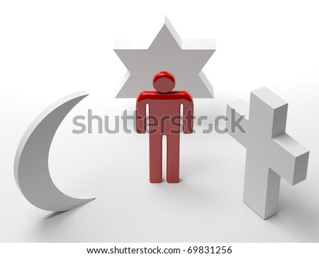 Three dimensional Shape The main religious symbols - stock photo