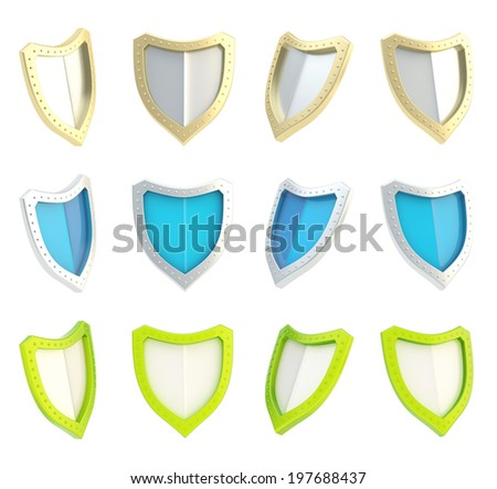 Three-dimensional shield symbol isolated over the white background, set of three color versions in four foreshortenings - stock photo