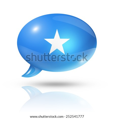 three dimensional Somalia flag in a speech bubble isolated on white with clipping path - stock photo