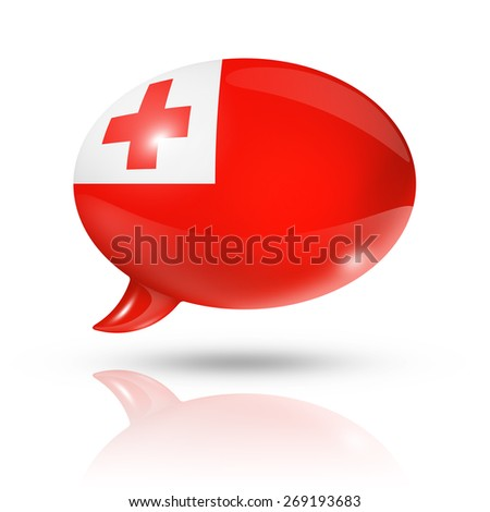 three dimensional Tonga flag in a speech bubble isolated on white with clipping path - stock photo