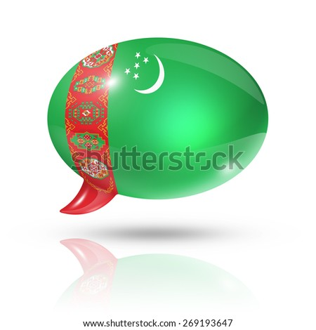 three dimensional Turkmenistan flag in a speech bubble isolated on white with clipping path - stock photo