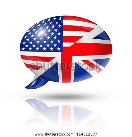 three dimensional UK and USA flags in a speech bubble isolated on white with clipping path - stock photo