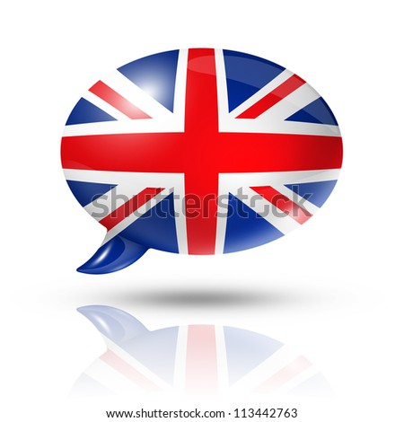 three dimensional UK flag in a speech bubble isolated on white with clipping path - stock photo