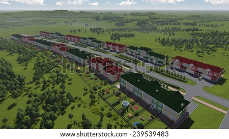 Three-dimensional visualization of green town. Cityscape for comfortable living.  - stock photo