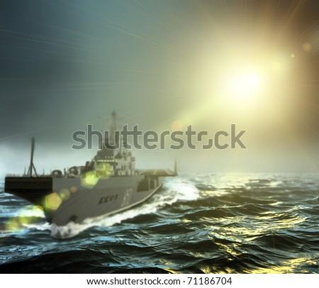 three-dimensional, warship at sea in the sunshine - stock photo