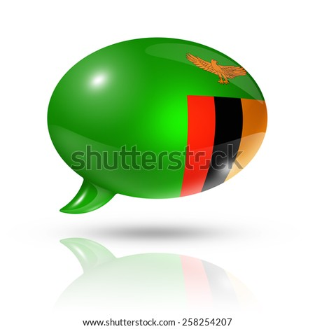 three dimensional Zambia flag in a speech bubble isolated on white with clipping path - stock photo
