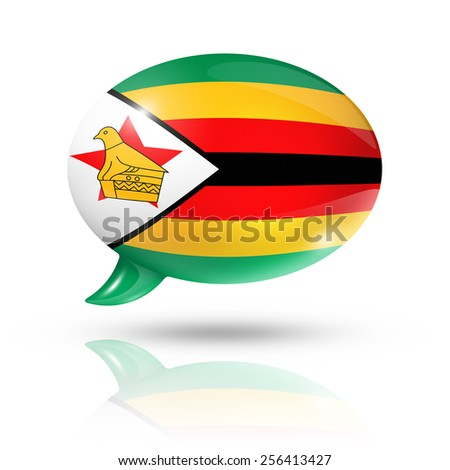 three dimensional Zimbabwe flag in a speech bubble isolated on white with clipping path - stock photo
