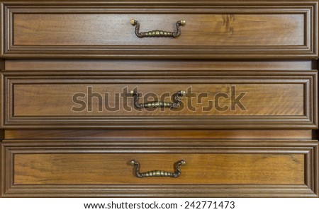 three drawers of an antique look-alike furniture - stock photo