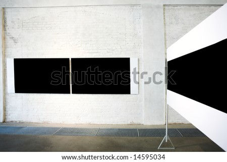 Three empty black large banners on exposition - stock photo