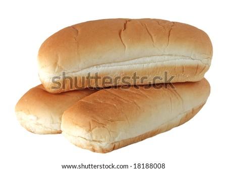 Three empty buns isolated on white background - stock photo