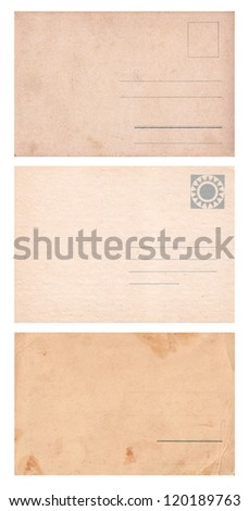 Three empty postcards isolated on white: set 1 - stock photo