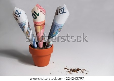 Three Euro banknotes planted in a clay pot growing out. Isolated objects with debris on the table surface - stock photo
