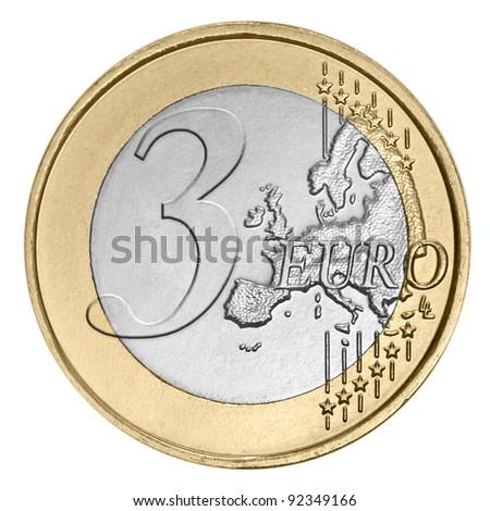 Three euro coin on white - stock photo
