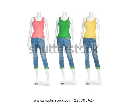 Three female shirt in jeans on mannequin isolated over white - stock photo