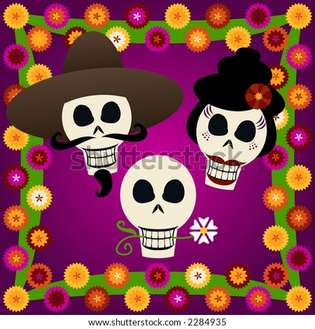 Three festive skulls celebrate Dia de los Muertos (the Day of the Dead, Oct.31-Nov2) - surrounded by colorful carnations - stock photo