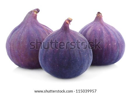 Three fig fruits isolated on white background - stock photo