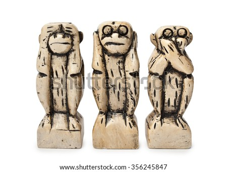 Three figures of monkeys on a white background. See nothing, hear nothing, do not say anything. - stock photo