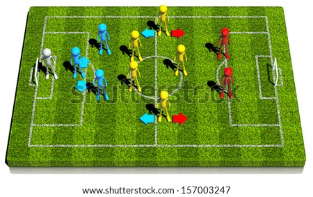 Three - five - two soccer formation wing-back and sweeper system, This strategy has one offensive center midfielder. 3d rendered on white background. - stock photo