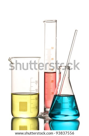 Three flasks with color liquid and with reflection isolated on white - stock photo