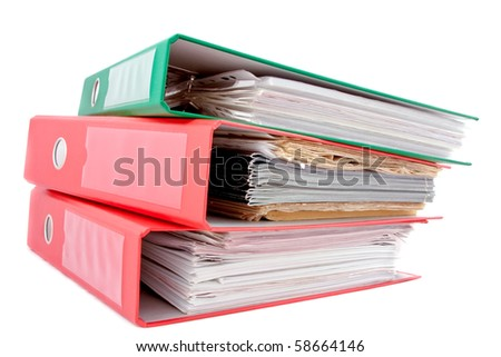 three folders on white background - stock photo