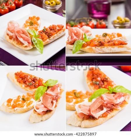 three fresh bruscchetta with vegetable,red raw fish and slice of ham - stock photo
