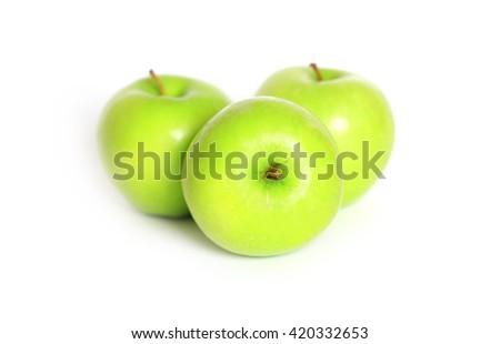 Three Fresh Green Apples - stock photo