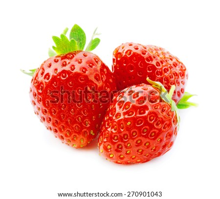 three fresh, juicy and healthy strawberries on white - stock photo