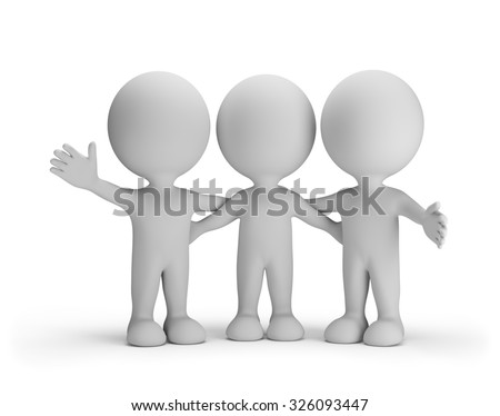 Three friends standing arm in arm. 3d image. White background. - stock photo