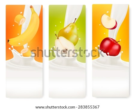 Three fruit and milk banners. - stock photo