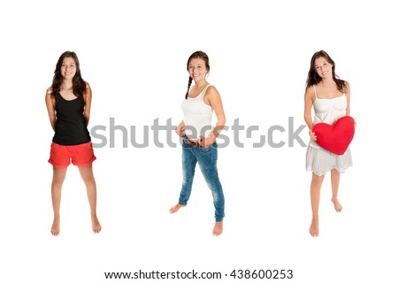 Three full length portraits of an eighteen year old girl wearing different outfits, isolated on white studio background - stock photo