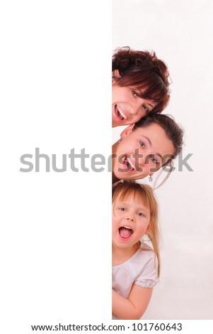 Three funny and happy girls - stock photo